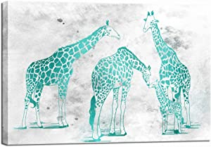 LevvArts Abstract Animal Wall Art Canvas Teal Giraffe Family Picture Painting Giclee Prints for Home Living Room Bedroom Nursery Wall Decor Stretched And Framed Ready to Hang 16x24inch