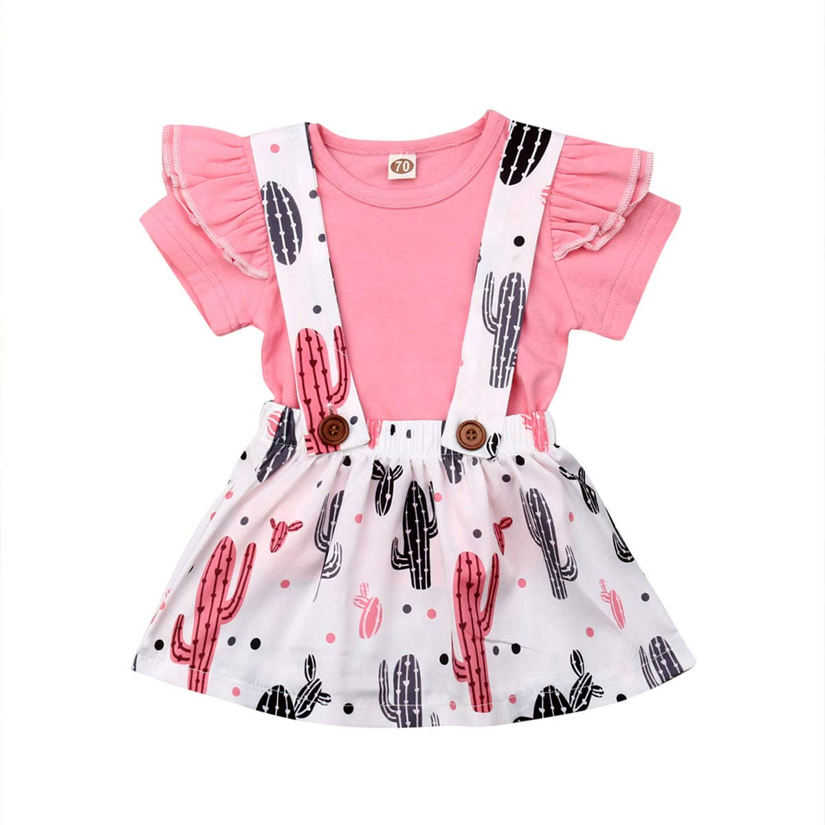 do.Cross Infant Baby Girls Clothes Set Coral Cactus Suspender Strap Skirt Suit Short Sleeve T-Shirts,Pink Tees,White Skirts
