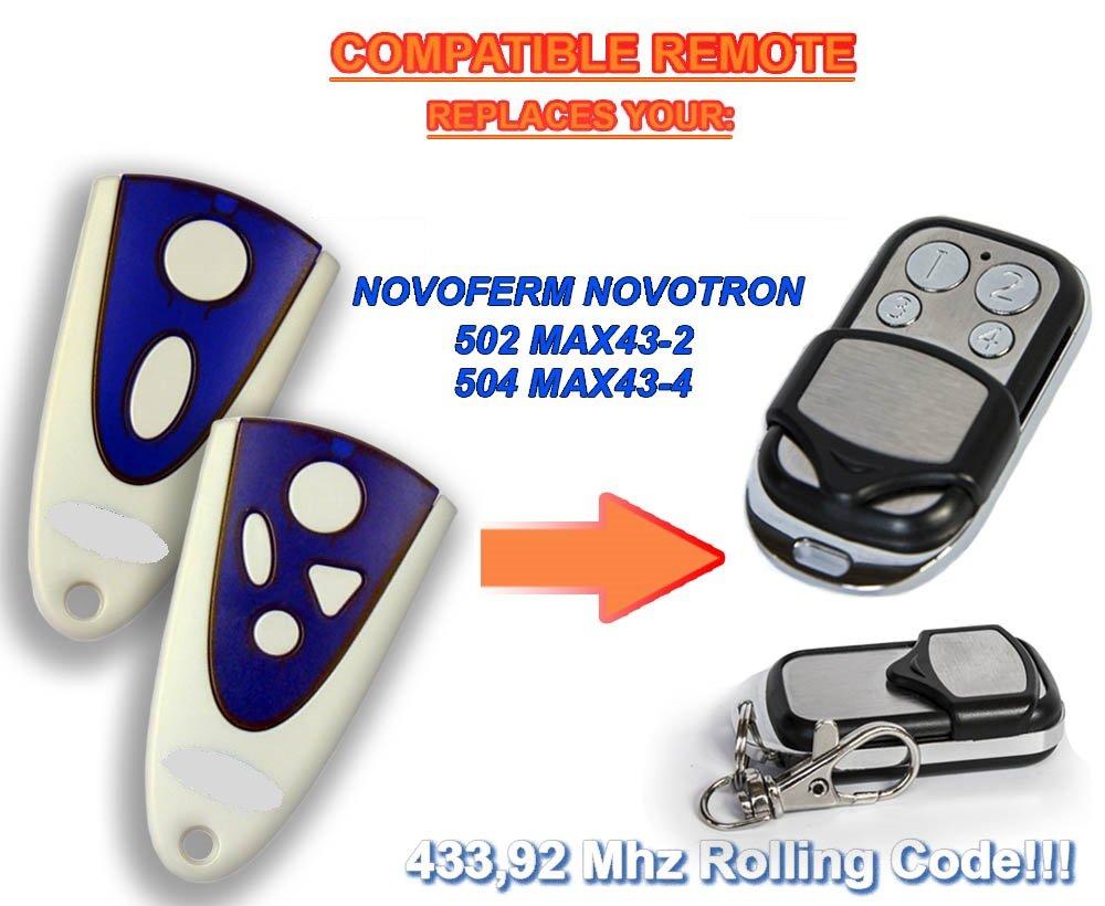 4-canales Ersatz Transmitter zum Besten Preis / 4/ Kompatibel Fernbedienung destancia 433,92/ MHz Rolling Code 504/ max43/ / 2 Novoferm compatible remote control NOVOFERM NOVOTRON 502/ MAX43/