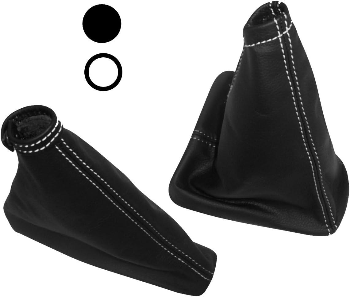 AERZETIX Cuffia leva cambio di 100/% VERA PELLE nero con cuciture bianche