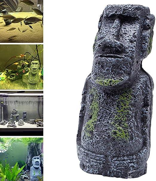 Inveroo Samll Isla de Pascua Acuario de Piedra del Acuario de Piedra Retrato Original de Piedra Romana Talla Artesanías de Resina Acuario de Retrato Romano Antiguo: Amazon.es: Productos para mascotas