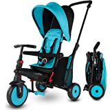 smarTrike STR3 Folding Toddler Tricycle with Stroller Certification for 1,2,3 Year Old - 6 in 1 Multi-Stage Trike