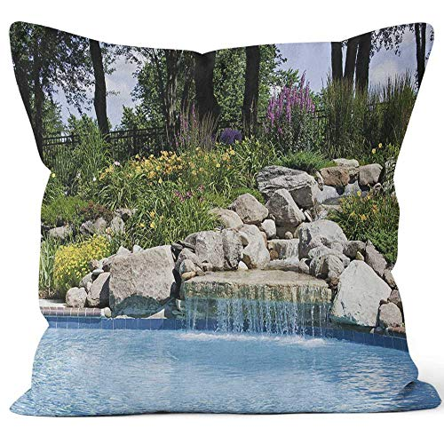(Nine City The Beautiful Poolside of a Waterfall with Rocks Throw Pillow Cushion Cover,HD Printing Decorative Square Accent Pillow)
