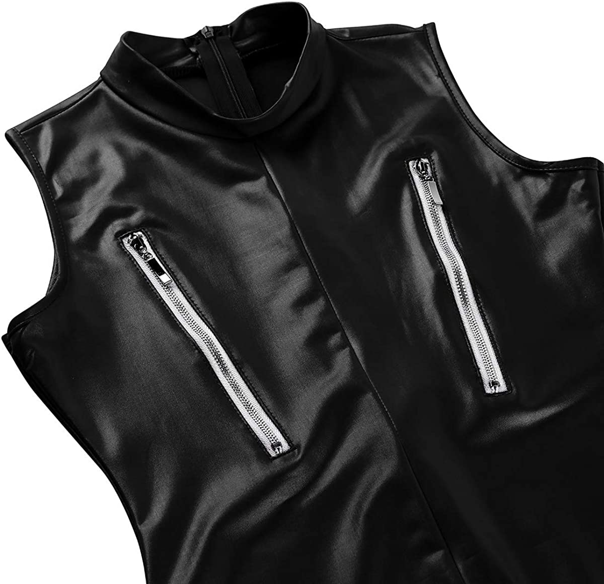 moily Womens One Piece Wetlook Patent Leather Stand Collar Sleeveless Zipper Crotch Bodysuit