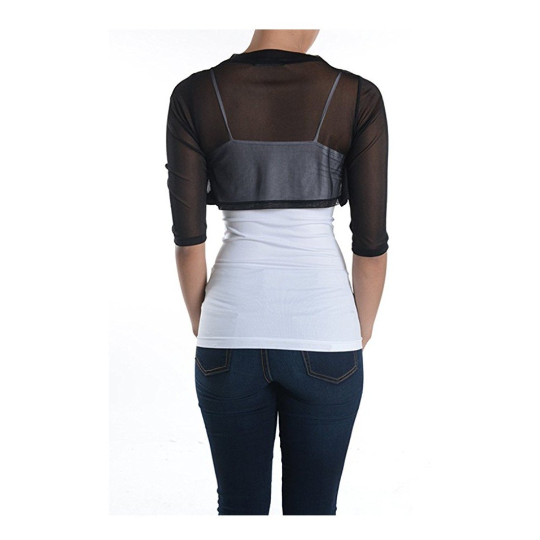 f58be37e6009a3 Macria Women's Sheer Chiffon Bolero Shrug Jacket Cardigan 3/4 Sleeves:  Amazon.co.uk: Clothing