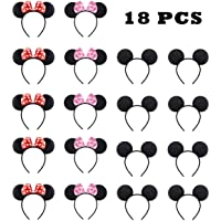 NEWTGAN 18 PCS Mickey Minnie Mouse Ears for Birthday Party Theme Park Costume Play Celebration for Boys and Girls (Red,Pink,Blakc)