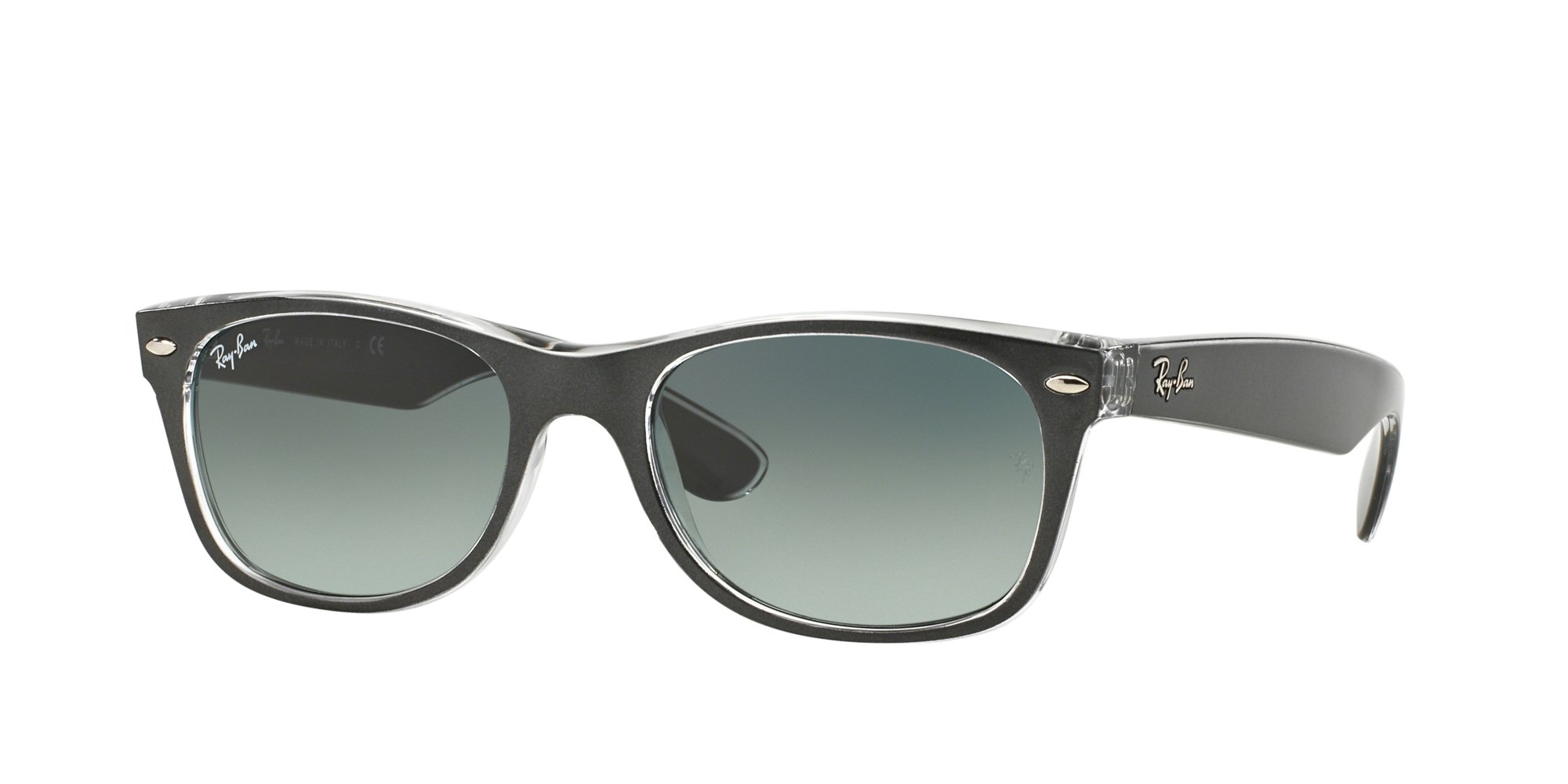 Ray Ban RB2132 NEW WAYFARER 614371 55M Brushed Gunmetal On Transp/Grey Gradient Dark Grey Sunglasses For Men For Women