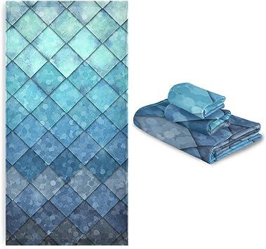 ZOEO Mermaid Blue Bath Towel Set 3 Ultra Soft Hair Towel Dry Fast Face Towel