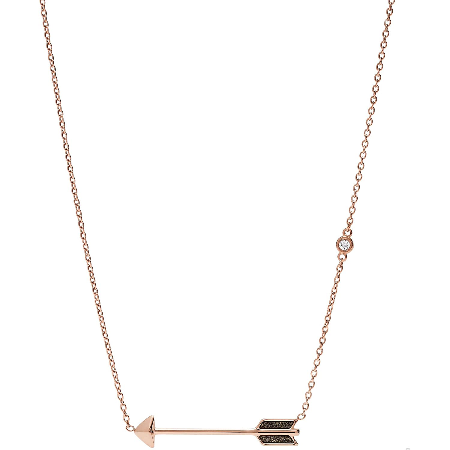 Fossil JF02814P Women Chevron Studs and Arrow Necklace Gift Set, Rose Gold
