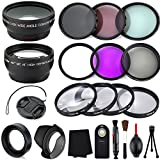 (US) Professional 52MM Lens and Filters Bundle Kit, 20 Compact Accessories for Nikon