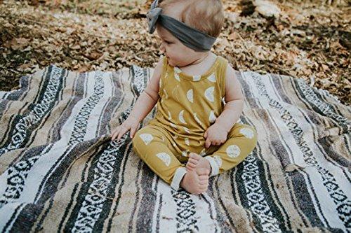 Newborn Baby Boy Girl Sleeveless Floral Romper Jumpsuit Bodysuit Playsuit (0-6 Months, Yellow)