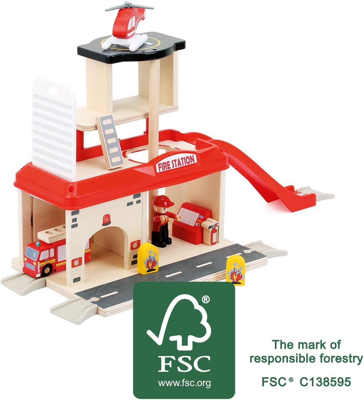 Small Foot World Estación de Bomberos de Madera Natural certificada 100% FSC® Incluye Accesorios