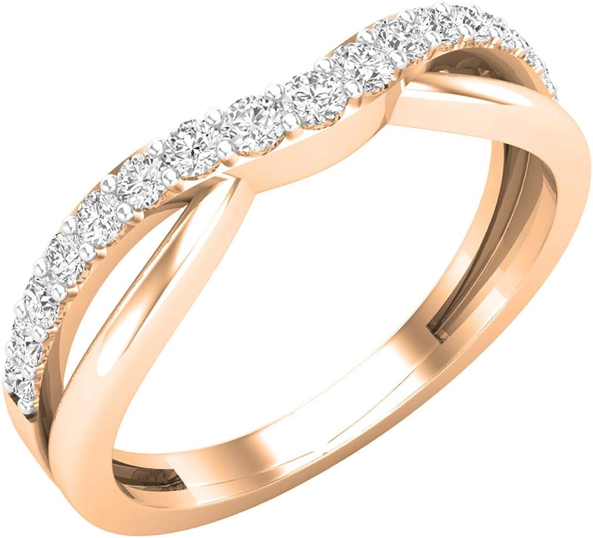 Dazzlingrock Collection 0.33 Carat (ctw) Round White Diamond Ladies Anniversary Wedding Guard Contour Band 1/3 CT, 14K Gold