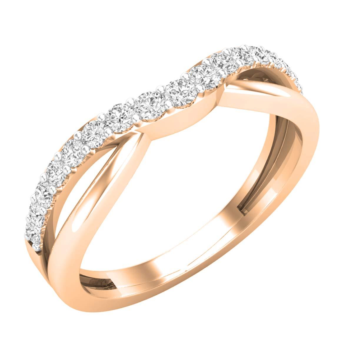 Dazzlingrock Collection 0.25 Carat (ctw) 14K Round Cut Diamond Ladies Wedding Guard Band 1/4 CT, Rose Gold, Size 6.5 by Dazzlingrock Collection
