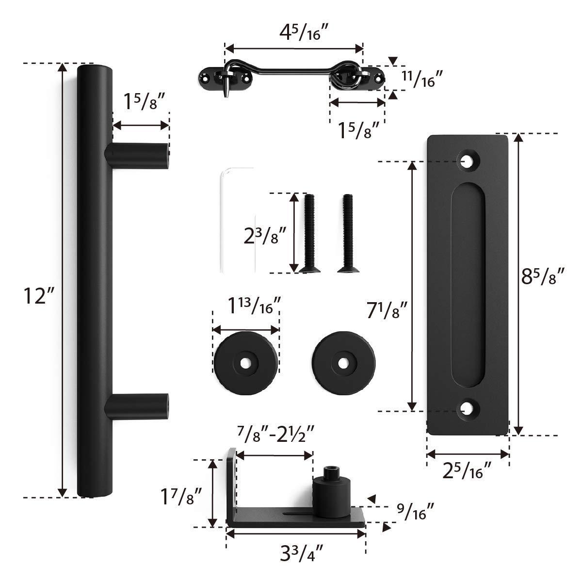 6.6 FT Heavy Duty Sturdy Sliding Barn Door Hardware Kit, 6.6ft Double Rail, Black, (Whole Set Includes 1x Pull Handle Set & 1x Floor Guide & 1x Latch Lock) Fit 36''-40'' Wide Door Panel (I Shape Hanger) by SMARTSTANDARD (Image #7)