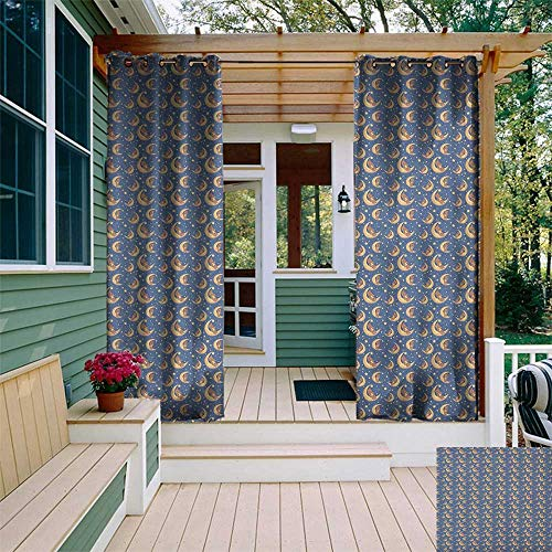 leinuoyi Moon, Outdoor Curtain Ties, Teddy Bear Sitting on a Moon and Holding a Star for Sweet Dreams Joyful, Outdoor Privacy Porch Curtains W108 x L96 Inch Night Blue Yellow Brown