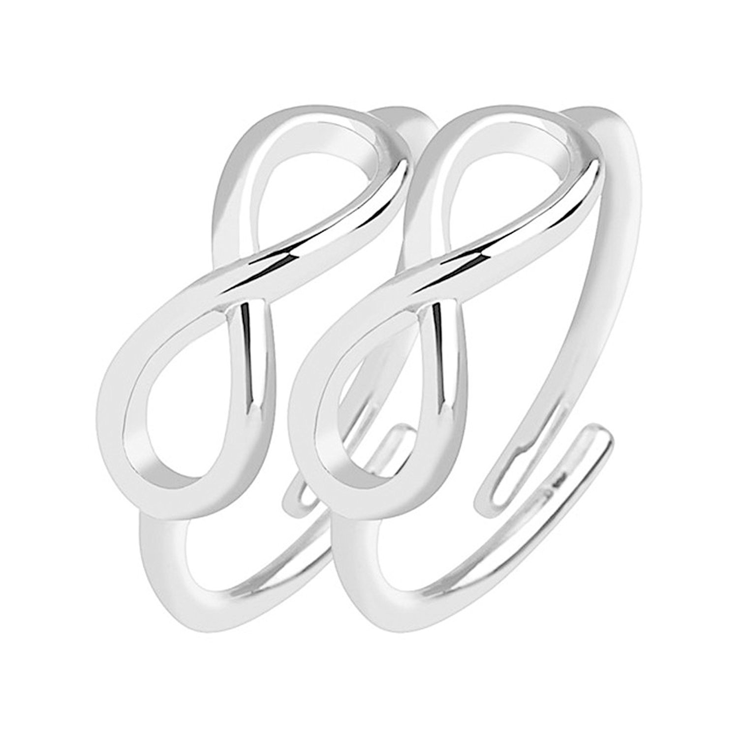 BodyJewelryOnline Pair of Infinity Symbol Adjustable Rhodium-Plated Brass Mid-Ring/Toe-Rings R-A022