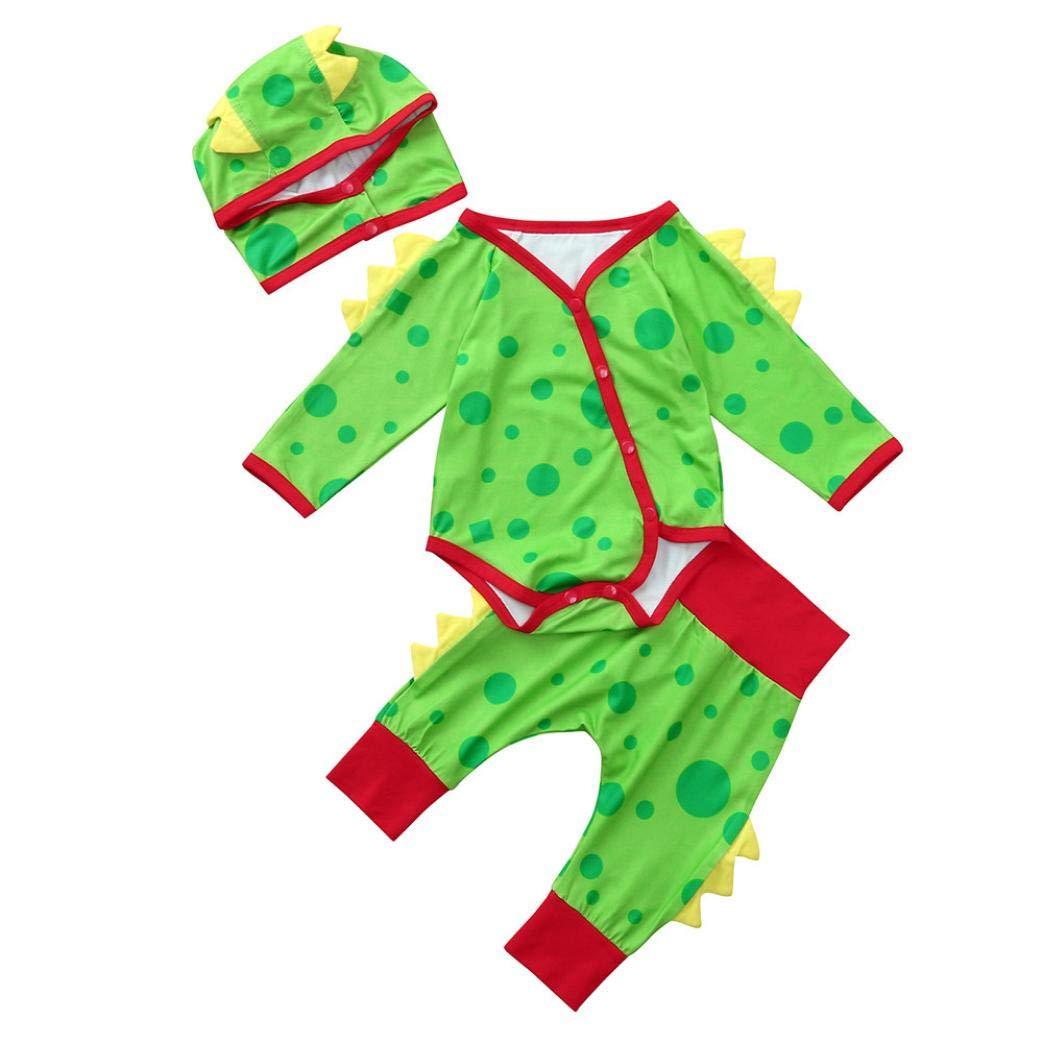 0-24 Months Christmas Party Newborn Baby Boys Girls Romper Set Cotton Dinosaur Dot Jumpsuit Pants Hat Outfits (Green, 0-6 Months)