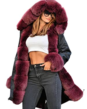 Roiii Vintage Women Military Faux Fur Hooded Winter Warm Coat Ladies Jacket Size 8-18 (L, Black)