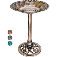 VIVOHOME 28 Inch Height Polyresin Lightweight Antique Outdoor Garden Bird Bath Copper