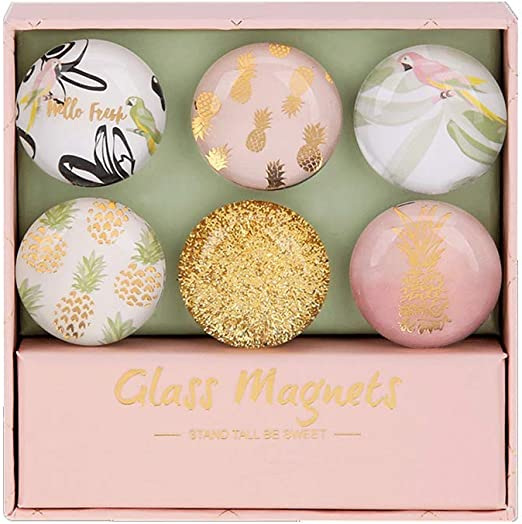 Large 1.2 In Dia, Gold Pink Pineapple Multibey Cute Refrigerator Magnets Decorative Glass Fridge Magnet Stickers for Whiteboard Memo Board Maps Decoration Women
