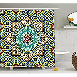Ambesonne Moroccan Decor Collection, Architectural Glazed Decorative Wall Tile Ceramic Historical Travel Destinations Image, Polyester Fabric Bathroom Shower Curtain Set with Hooks, Khaki Blue