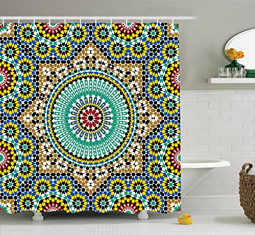 Ambesonne Moroccan Decor Collection, Architectural Glazed Decorative Wall Tile Ceramic Historical Travel Destinations Image, Polyester Fabric Bathroom Shower Curtain Set with Hooks, Khaki (Architectural Ceramic)