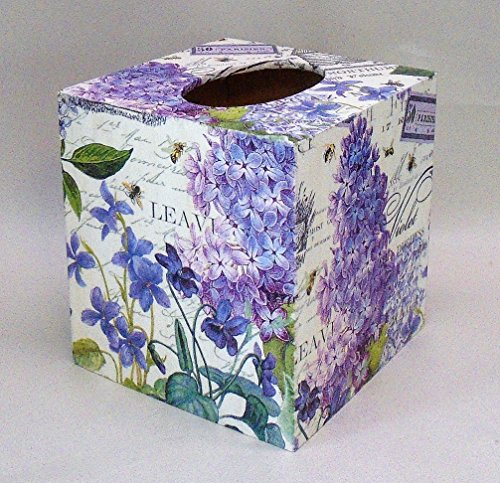 Handmade Decoupage Wood Tissue Box, Violets & (Satin Decoupage)