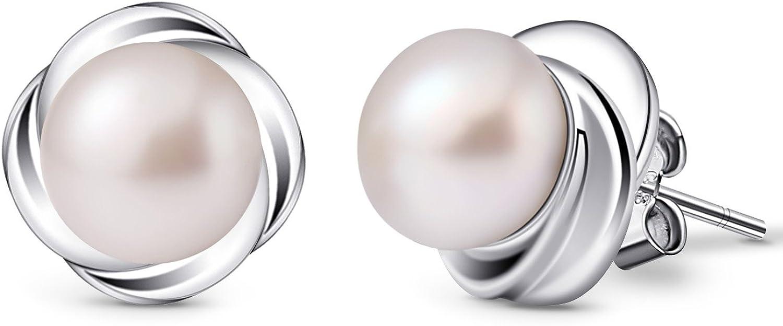 B.Catcher Pendientes de perlas de plata de ley 925, el lenguaje de las flores, set de regalo para mujer