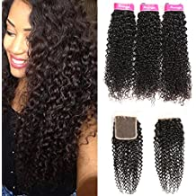 Mongolian Curly Virgin Hair 3 Bundles with Free Part Lace Closure 100% Unprocessed Human Hair with Closure Kinkys Curly Weave(14 16 18+12)