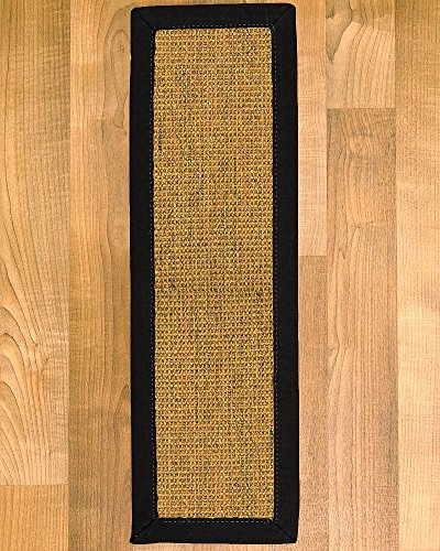 NaturalAreaRugs Sorrento Sisal Carpet Stair Treads, 100 Percent Natural Sisal, 9-inch x 29-inch Set of 4, Black Border