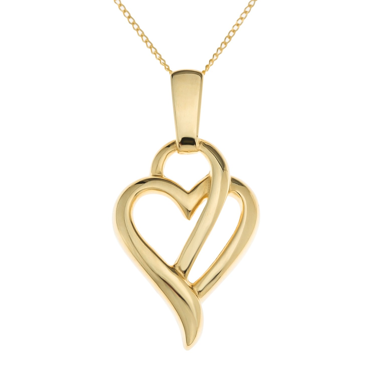 Ornami Ladies\' 9 ct Yellow Gold Glamour Heart Pendant with 46 cm ...