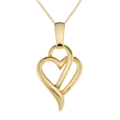 Ornami ladies 9 ct yellow gold glamour heart pendant with 46 cm ornami ladies 9 ct yellow gold glamour heart pendant with 46 cm chain aloadofball Choice Image