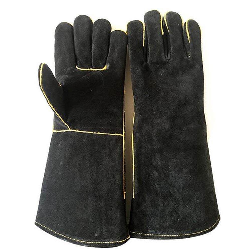 IRVING Outdoor welding leather gloves household barbecue BBQ microwave oven insulation gloves anti-scalding high temperature protective gloves by IRVING (Image #2)