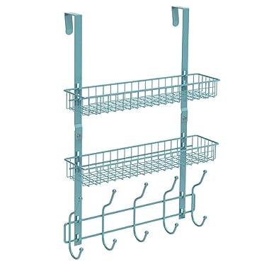 NEX Upgrade Over The Door Hook Shelf Organizer 5 Hooks with 2 Baskets Storage Rack for Coats & Towels, Chrome(Aqua Blue)