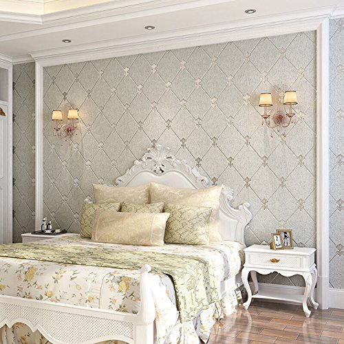 Charming XiaJingJing 3D Continental Diamond Soft Non Woven Wallpaper Modern Luxury  Living Room Bedroom Tv Background Wall Wall Papers,Light Grey,Only The  Wallpaper: ...