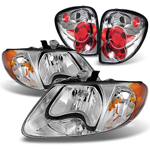 For 2001-2007 Dodge Caravan Chrome Amber Headlights Lamps + Chrome Rear Tail Lights Brake