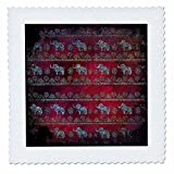 3dRose Uta Naumann Faux Glitter Pattern - Luxury Shiny Chic Animal Elephant Africa Safari Pattern on Red Metal - 22x22 inch quilt square (qs_269040_9)