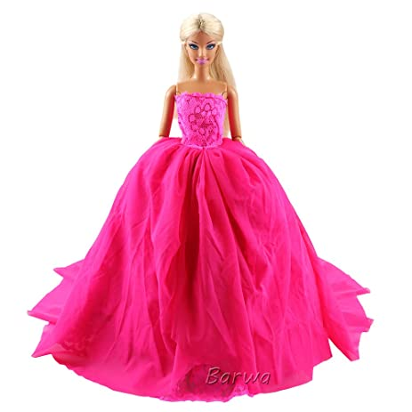 Amazon.com: Barwa Pink Princess Evening Party Clothes Wears Train ...