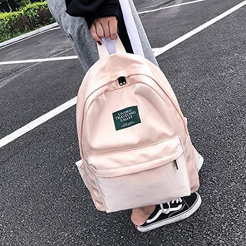 Bolsa Gran Ligero Weatly adulto Estudiando Capacidad Pink De Size Estudiante Súper Unisex S Material Breve color Secundaria Gray Nylon Mochila Volver Sólido nxIzvx