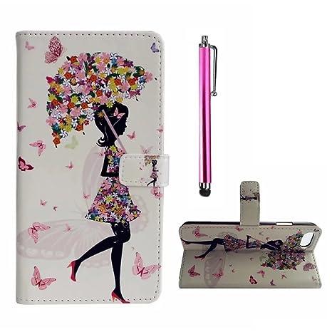 Para LG K5 PU Cuero Billetera Funda Flip Carcasa,pintura de la cáscara colorido diseño de la carpeta con TPU suave interior Para LG K5,MUTOUREN Alta ...