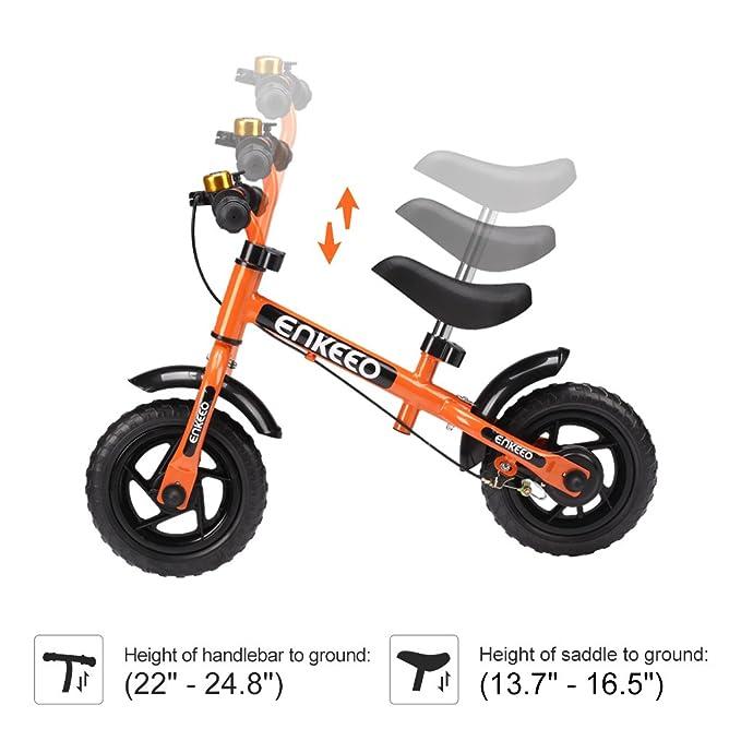 con Timbre y Freno, Altura Ajustable de Manillar y Sill/ín, Ruedas Robustas, Manejo Facil y Seguro ENKEEO Bicicleta sin Pedales Equilibrio para 2-6 A/ños Blanco