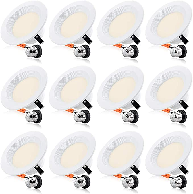 13W=150W LED Slim Recessed Lighting 5//6 inch Downlight 12 Pack 3000K Warm White 1000LM Dimmable ETL Listed CRI 90+ Simple Retrofit Installation Damp Rated