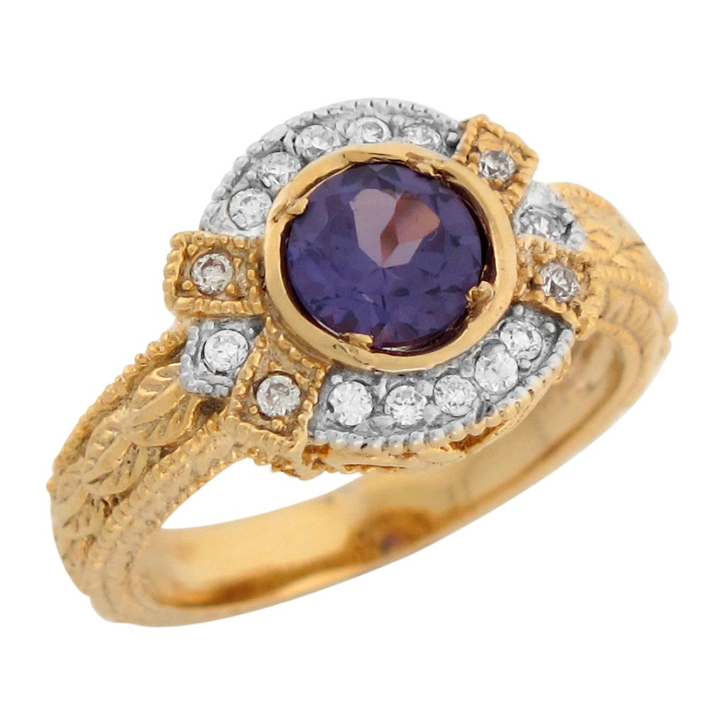 14k Two Tone Gold Simulated Alexandrite White CZ Vintage Style Ladies Ring