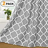 Cheap Flamingo P Light Blocking Moroccan Insulated Blackout Drapes Printed Window Curtains for Living Room, Grommet Top, Set of Two Panels, each 84 by 52- Dove Gray