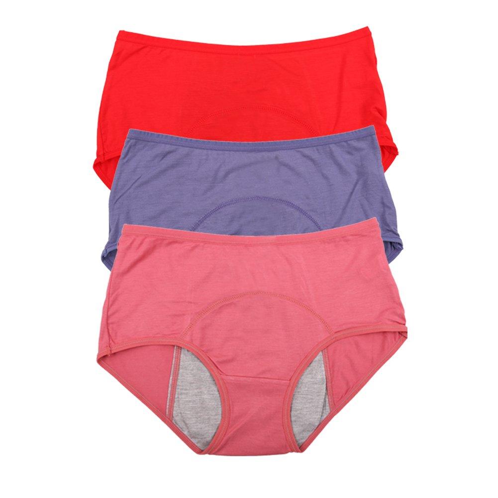 Bamboo Viscose Fiber Brief Menstrual Leakproof Panties Multi Pack US Size XXS-3XL//10