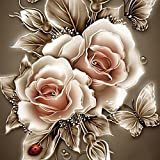 Cyhulu 5D DIY Diamond Embroidery Painting, Realistic Flower 5D Embroidery Paintings Rhinestone Pasted DIY Diamond Painting Cross Stitch Craft Home Office Decor Gift Art Wall Sticks (E, One size)