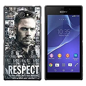 Sony Xperia M2 / Xperia M2 Aqua / Sony Xperia M2 Dual, Radio-Star - Cáscara Funda Case Caso De Plástico (Paul Walker - Respect)