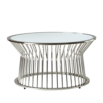 Mid Century Modern Platner Style Chrome Metal Coffee Table With Glass Top  Includes ModHaus Living (