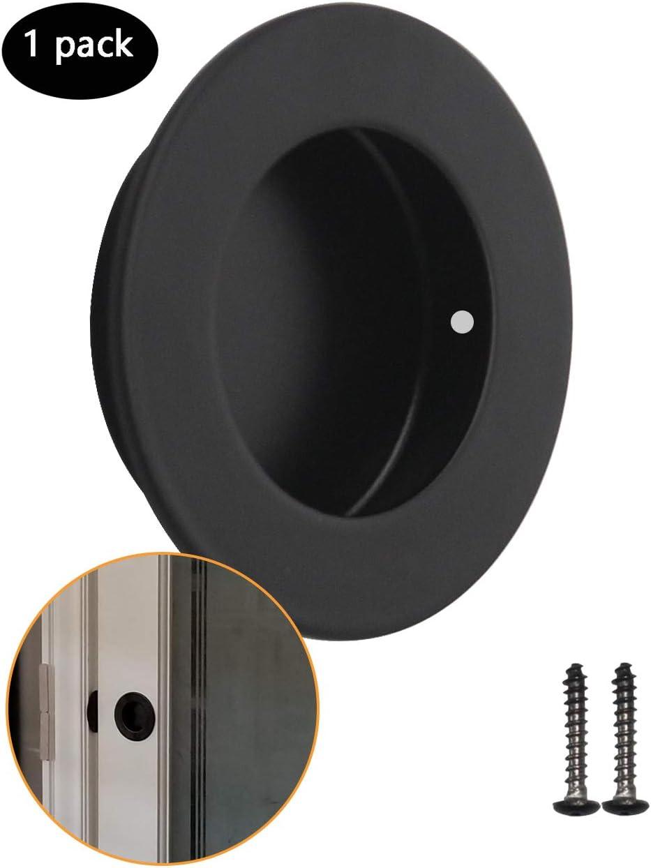 1 Pack Brushed Nickel Flush Pull 304 Stainless Steel Probrico Round Diameter 50mm Door Recessed Handles with Screws